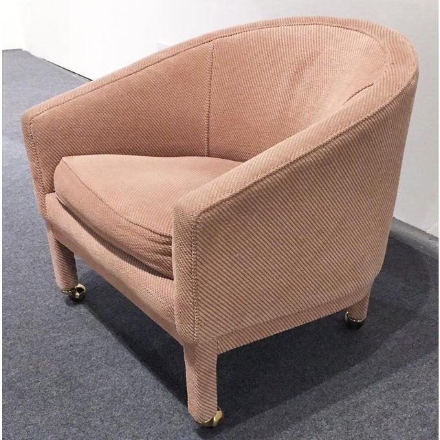 Image of Mid-Century Milo Baughman Style Barrel Back Chair