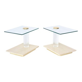 Pair of American Modern Travertine Marble, Lucite and Glass Tables Lion in Frost