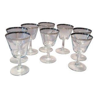 Vintage Dorothy Thorpe Crystal Double Shot Glasses - Set of 8
