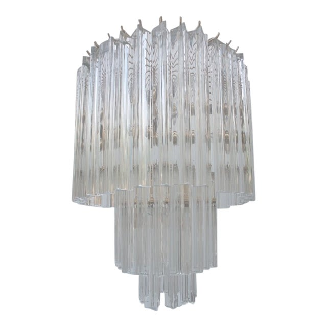 Venini Three-Tiered Glass Prism Chandelier. - Image 1 of 11