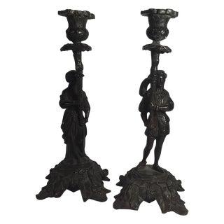 Bronze Candleholders - A Pair