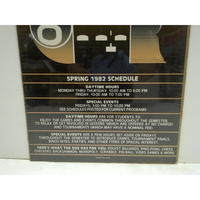 Image of 1982 The Que Game Room Spring Schedule Poster