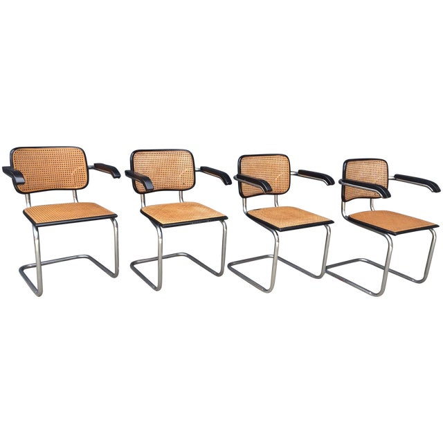 Image of Cesca/Breuer Style Arm Chairs - Set of 4