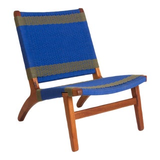 Blue & Gray Woven Lounge Chair