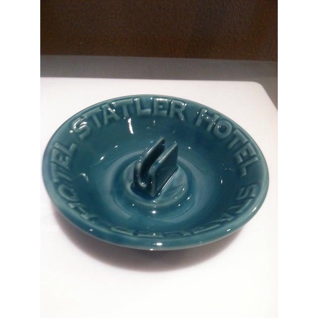 Image of Vintage Hotel Statler Ceramic Blue Ashtray