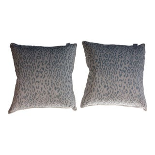 Grey and White Snow Leopard Print Pillows- Pair