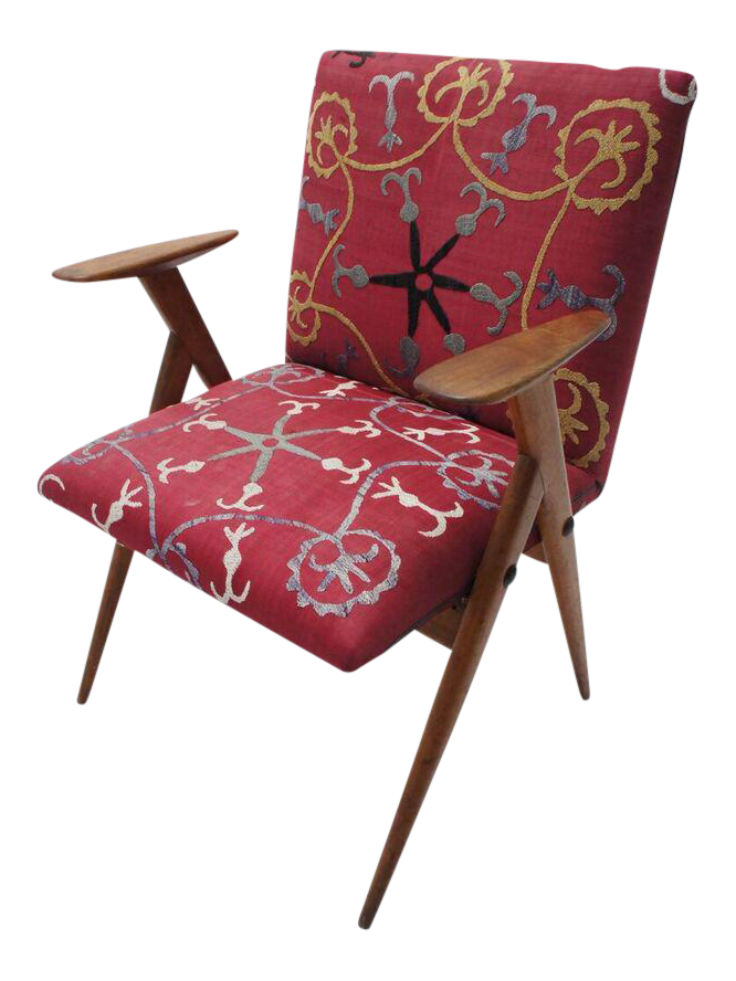 Vintage Suzani Upholstered French Occasional Chair   Image 1 Of 9