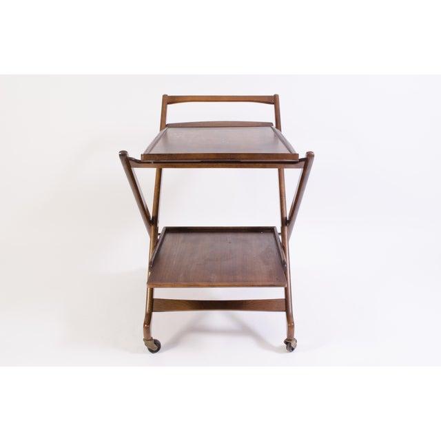 Danish Folding Walnut Bar Cart With Serving Tray - Image 4 of 11