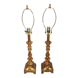 Gilt French Rococo Neoclassical Column Lamps - A Pair