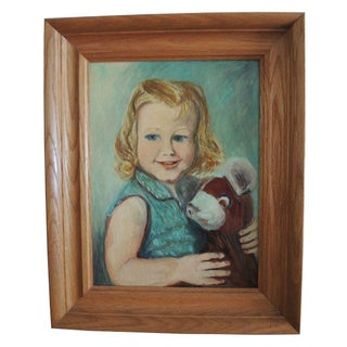 Vintage Portrait of Child & Stuffed Animal