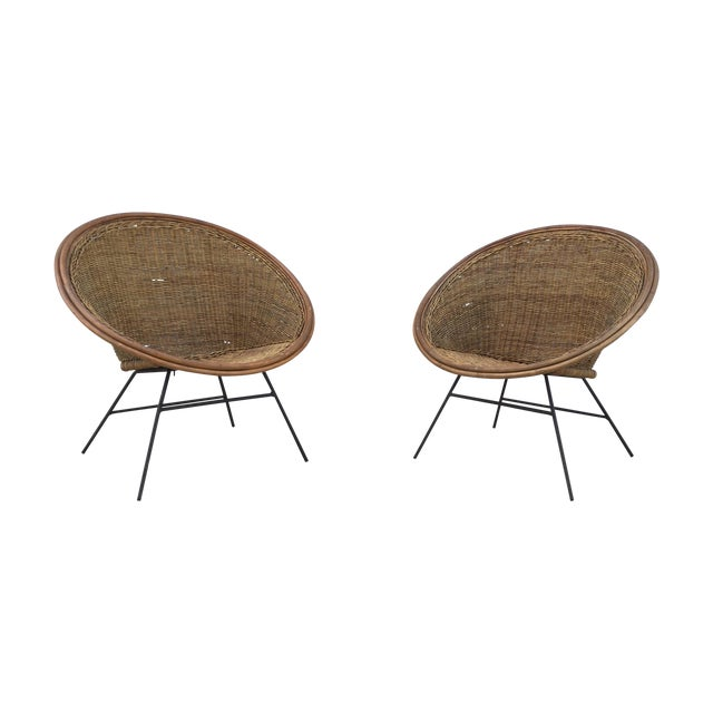 Image of 1960's Modernist Scoop Rattan Chairs
