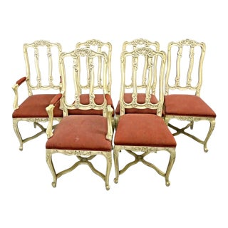 French Country Provincial Louis XV Style Dining Chairs - Set of 6