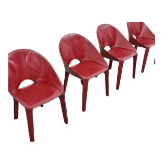 """Mario Bellini """"Lira E Liuto"""" Leather Chairs, Set of Four"""