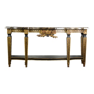 French-Style Granite Top Console Table