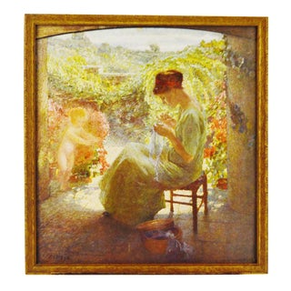 Vintage Print of a Woman Sewing