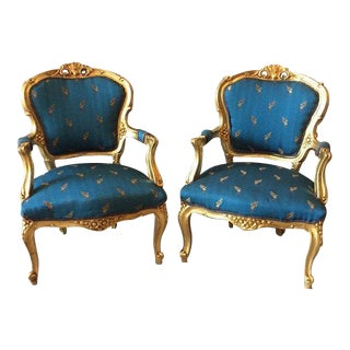 Antique French Fauteuil Chairs - Pair