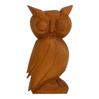 1974 Winking Hand Carved Wood Owl