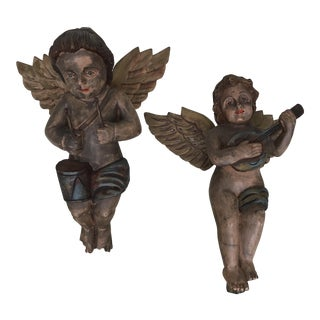 Antique Baroque Wood Carved Cherubs- Set of 2