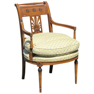 Directoire Style Carved Walnut Side Chair