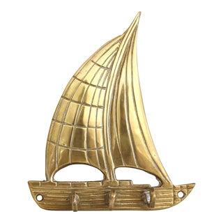 Vintage Brass Sailboat Key Hooks Wall Hooks