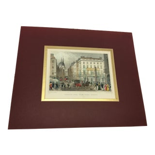 1830 Antique London Ludgate Hill Street Scene Engraving