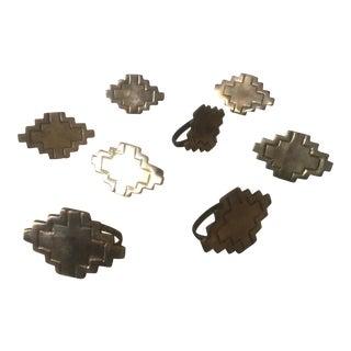 Vintage Brass Modernist Geometric Napkin Rings - Set of 8