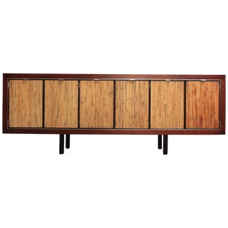 1970s Walnut, Bamboo and Cherry Credenza after Harvey Probber