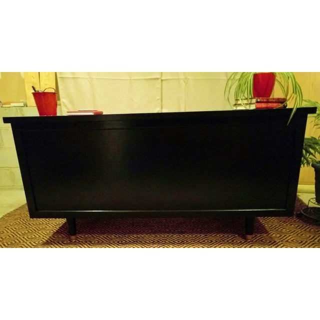 Mid-Century Black & Red Solid Wood Desk - Image 11 of 11