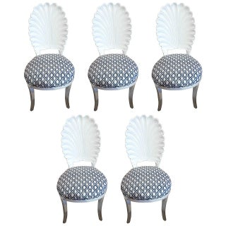 White Shell Motif Dining Chairs - Set of 5