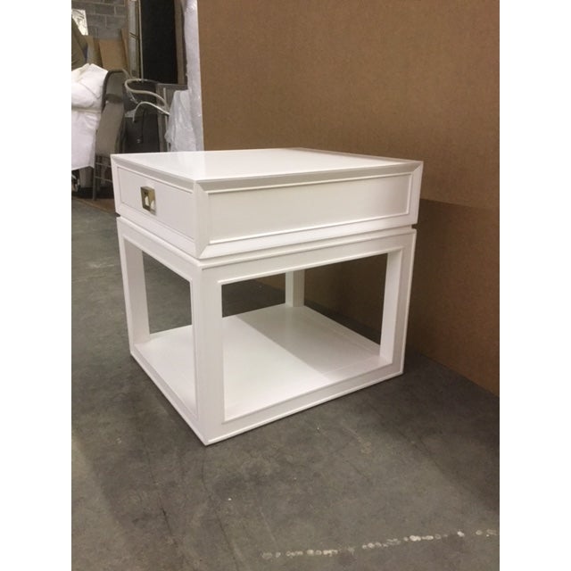 """Malibu Loft"" Single Drawer White Side Table - Image 6 of 6"