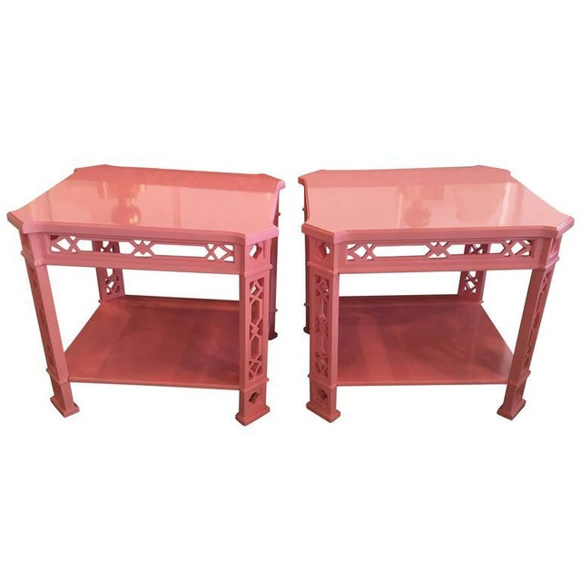 Chinoiserie Pink Lacquered Fretwork Side Tables - A Pair - Image 11 of 11