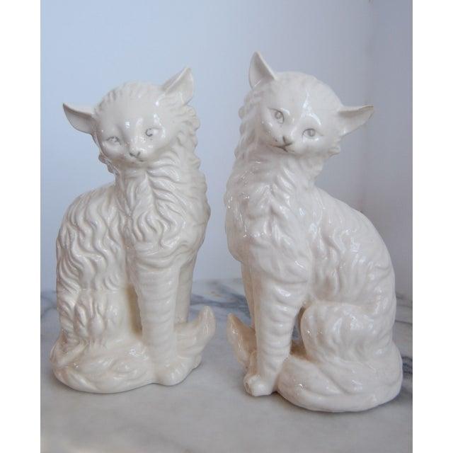 Vintage White Porcelain Cats - A Pair - Image 2 of 8