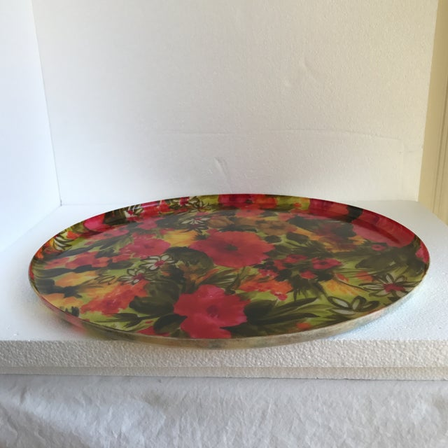 Mid-Century Floral Acrylic Serving Tray - Image 6 of 8