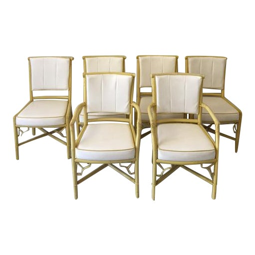 Vintage Daffodil Yellow Rattan Dining Chairs - Set of 6 - Image 1 of 11