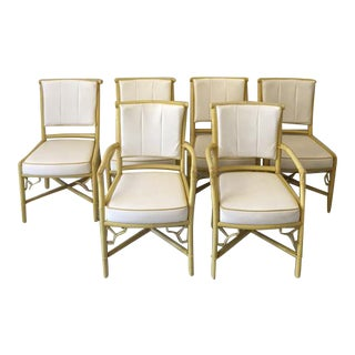 Vintage Daffodil Yellow Rattan Dining Chairs - Set of 6