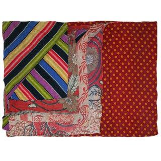 Earthtones on Red Vintage Kantha Quilt