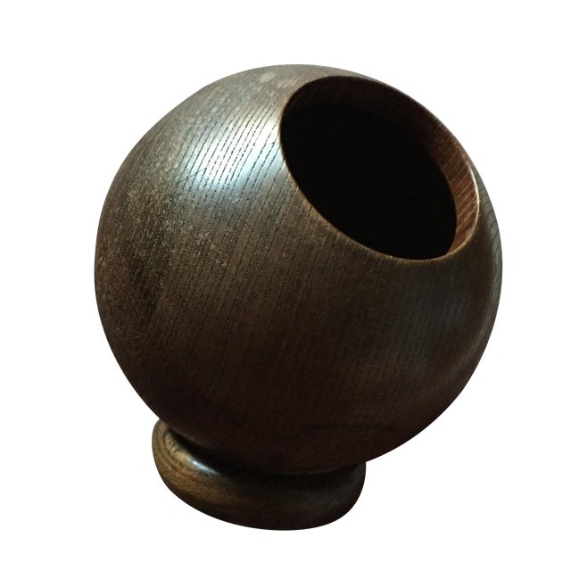 Vintage Round Wooden Dish - Image 1 of 6