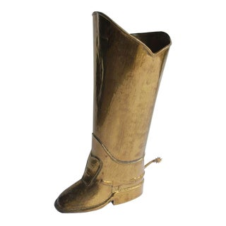 English Brass Boot Umbrella Stand