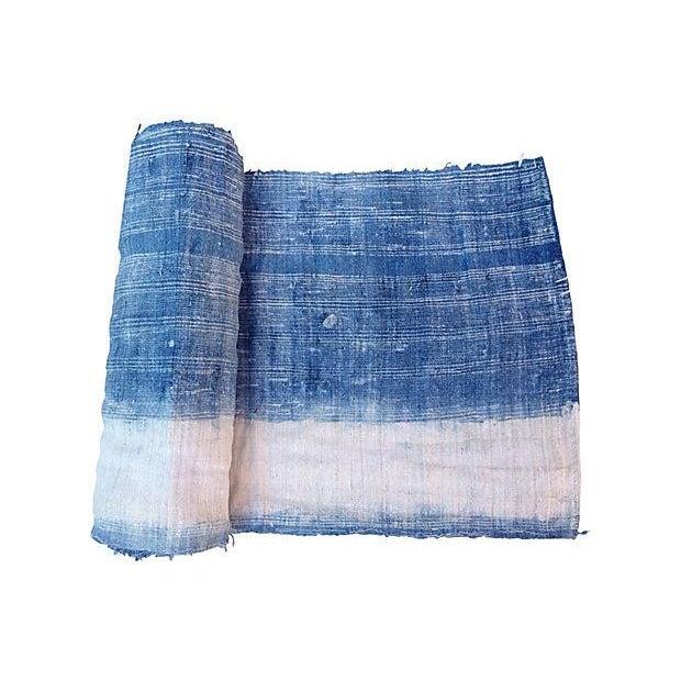 Faded Indigo Batik Textile Fabric - 3.6 Yards - Image 1 of 6