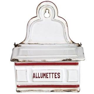 French Enamel Allumettes Holder