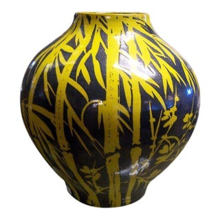 Yellow Bamboo Glazed Terracotta Vase