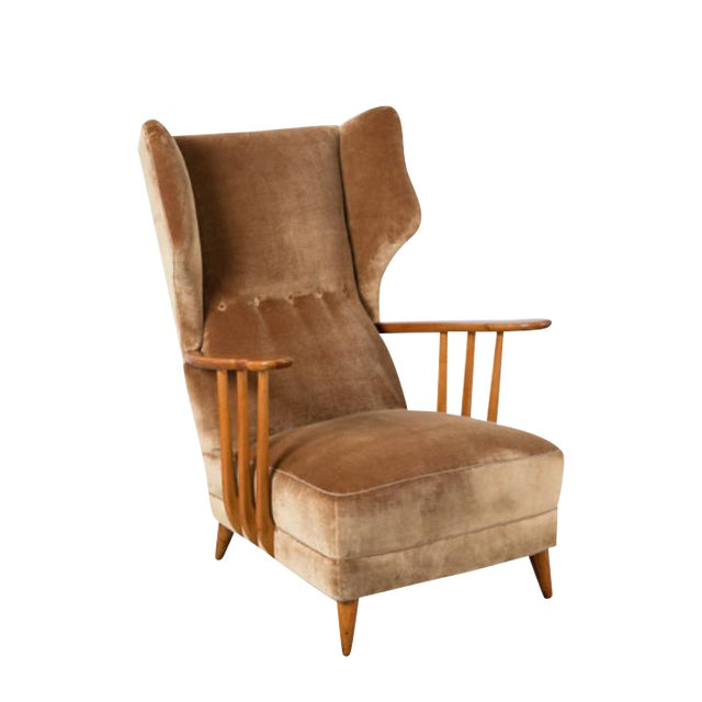 Image of Open Arm Wingback Chair by Paolo Buffa