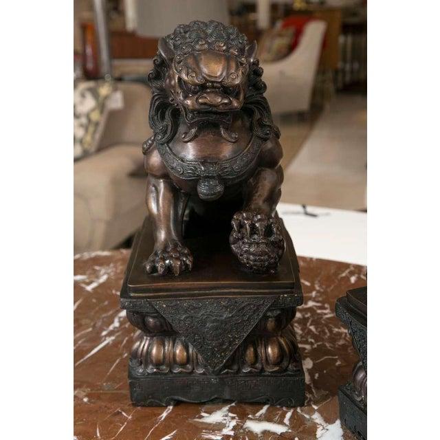 Fine Antique Bronze Foo Lion/ Dog Pair - Image 4 of 10