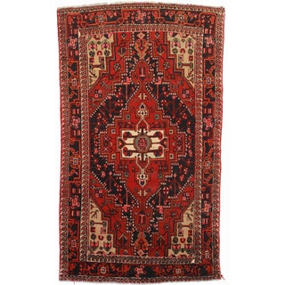 Hand Knotted Wool Persian Hamedan Rug - 4′7″ × 7′8″