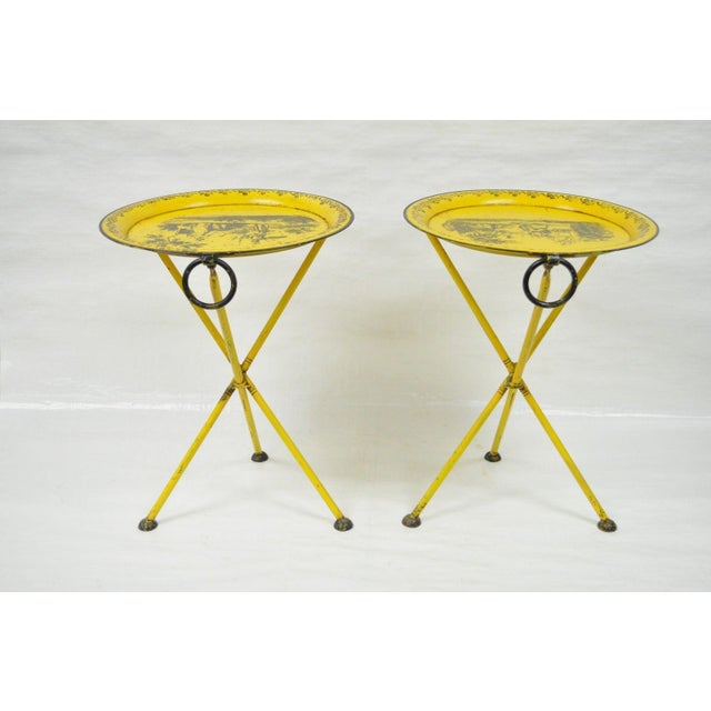Pair of Vintage Italian Neoclassical Tole Metal Folding Side Tables Yellow Courting - Image 8 of 11
