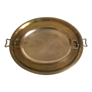 Vintage Mid-Century Moroccan Brass Large Tea Serving Trays - a Pair