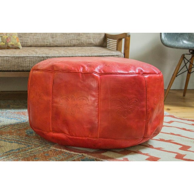 Antique Revival Cranberry Red Leather Pouf Ottoman - Image 2 of 8