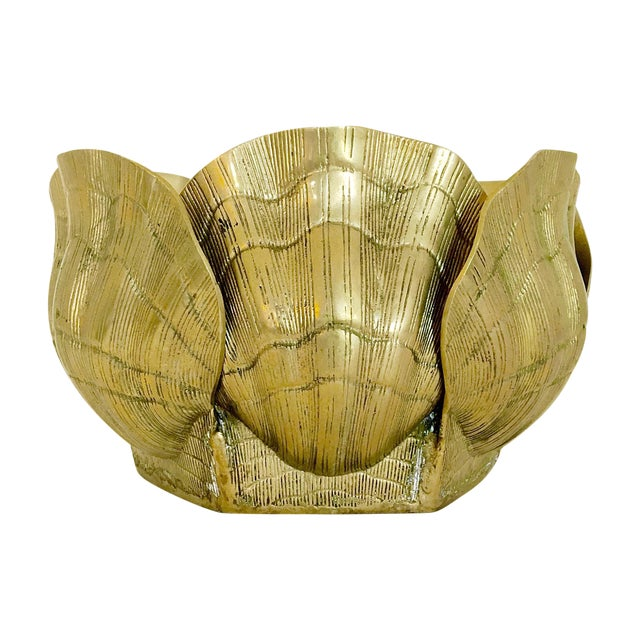 Large Brass Shell Planter - Image 1 of 7