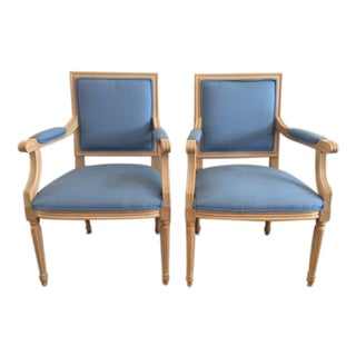 French Louis XVI Style Framed Fauteuils - A Pair