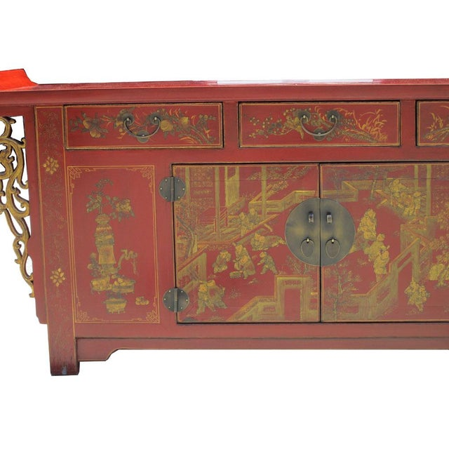 Chinese Vintage Red & Gold Altar Buffet Table - Image 5 of 6